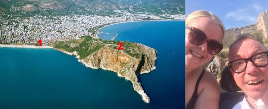 Dette er fjellet som jeg besteg. 1 startpunkt, Kleopartra beach, 0 moh. 2 Alanya Kalesi, 250 moh. Avstand 3,2 km, hvorav 1,5 km var romersk brostein.